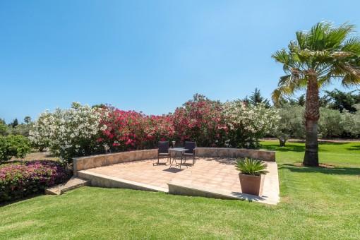 Idyllische Terrasse im Garten