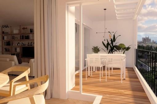 Elegante Wohnung mit Blick auf die Bucht von Palma in Santa Catalina