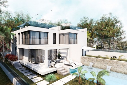 Designer Neubauchalet mit Meerblick in Bahia Grande