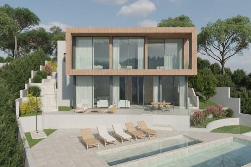 Fantastisches Projekt für eine zweistöckige Villa mit Meerblick in Costa de la Calma