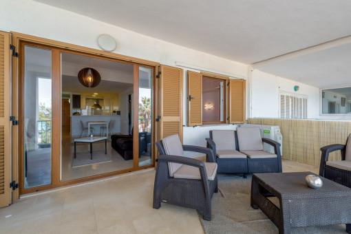 Balkon mit Sitzecke