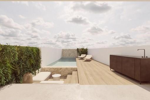 Terrasse mit Pool und Sommerküche